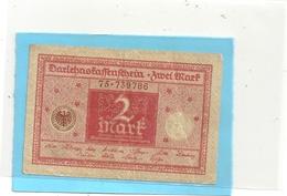 DARLEHENSKASSENSCHEIN - ZWEI ( 2 )  MARK . 1-3-1920  . N° 75-739786   .  2 SCANES - [ 3] 1918-1933 : République De Weimar