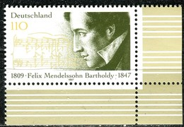 A12-57-6) BRD - Mi 1953 ECKE REU - ** Postfrisch (D) - 110Pf                 Felix Mendelssohn Bartholdy - Unused Stamps