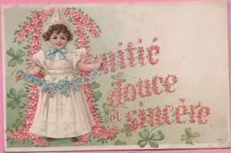 CPA 1451 Gauffrée Fillette, Décor De Fleurs De Suisse Pour Désandans (25) 2-01-06 - Wensen En Feesten