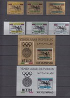 North Yemen, Y.A.R. 02.07.1968 Mi # 742-44, 745-47 Bl 71-72 Mexico City Summer Olympics (I), MNH OG - Zomer 1968: Mexico-City