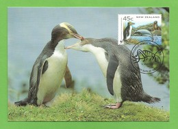 New Zealand 1993  Mi.Nr. 1290 , Yellow-eyed Penguin / Gelbaugenpinguin - WWF Official Maximum Card 9 June 1993 - Used Stamps