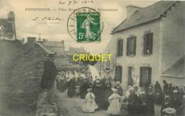 29 Porspoder, Fête Bretonne, Une Procession, Affranchie 1912, Cliché Pas Courant Avec Le Cortège - Otros Municipios