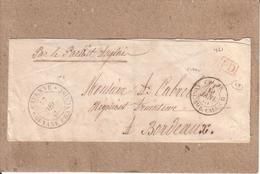 """GUYANE , GIRONDE - LETTRE DE CAYENNE POUR BORDEAUX - CAD """" COL. FR. ANGL. AMB. CALAIS B """" + MARQUE PD - 1860 / 1861 - 1849-1876: Période Classique"""