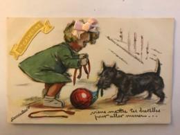 Germaine Bouret - Rare CP En Relief Avec Ajoutis Découpis Tissus Paillettes - Chien Ballon Ste Catherine - Très Belle - Bouret, Germaine