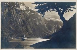 1928 , NORUEGA , TARJETA POSTAL CIRCULADA , SONDMOR - NORANGFJOGDEN , FIORDOS , BARCOS - Noruega