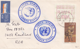 NAMIBIA. South West Africa.   FRAMA.  Letter 7.oct. 1990. Untag-Namibia. German Civpol - Namibie (1990- ...)