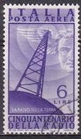 Repubblica Italiana, 1947 - 6 Lire Radio, Fil. R1 - Pos. DA -  Nr.13 Usato° - 6. 1946-.. Repubblica