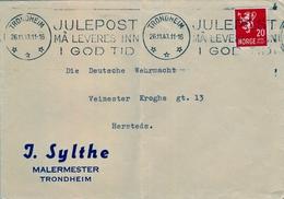 1943 , NORUEGA , SOBRE COMERCIAL CIRCULADO , TRONDHEIM - HERSTEDS - Noruega