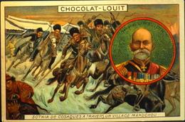 Chromo & Image > Chromo > - CHOCOLAT LOUIT - Sotnia De Cosaques Dans Un Village Mandchou - En B. état - Louit