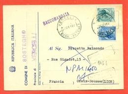 STORIA POSTALE PER L'ESTERO-CARTOLINA ELETTORALE-RACCOMANDATA DA SOSTEGNO PER LA FRANCIA-SIRACUSANA - 6. 1946-.. Repubblica