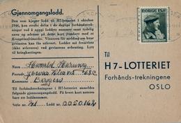 1946 , NORUEGA , TARJETA POSTAL LOTERIA , BERGEN - OSLO - Noruega
