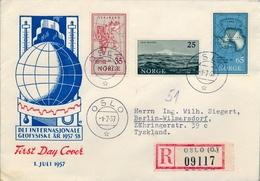 1957 , NORUEGA , SOBRE DE PRIMER DIA , AÑO GEOFISICO INTERNACIONAL , YV. 376 / 378 - FDC