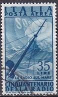 Repubblica Italiana, 1947 - 35 Lire Radio, Fil. R1 - Pos. SB -  Nr.17 Usato° - 6. 1946-.. Repubblica