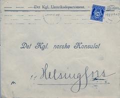 1919 , NORUEGA , SOBRE COMERCIAL CIRCULADO , KRISTIANIA - HELSINGFORS , LLEGADA AL DORSO - Noruega