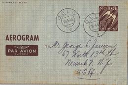 1949 , NORUEGA , AEROGRAMA , 60 ORE , MAT. OSLO - Noruega