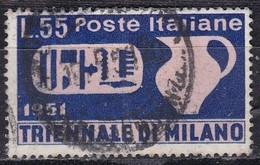 Repubblica Italiana, 1951 - 55 Lire Triennale Di Milano, Fil. R1 - Pos. CS -  Nr.158 Usato° - 6. 1946-.. Repubblica