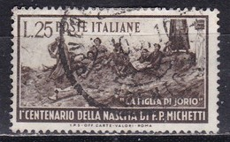 Repubblica Italiana, 1951 - 25 Lire Michetti, Fil. R1 - Pos. ND - Nr.162 Usato° - 6. 1946-.. Repubblica