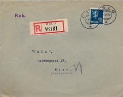 1938 NORUEGA , SOBRE CERTIFICADO , OSLO - VIENA , LLEGADA AL DORSO - Noruega