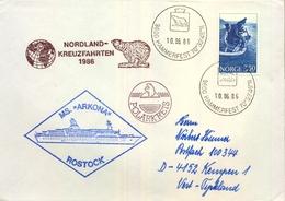 1986 NORUEGA , SOBRE CIRCULADO , TEMÁTICA POLAR , HAMMERFEST - TYSKLAND - Noruega