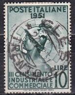 Repubblica Italiana, 1951 - 10 Lire Censimento, Fil. R1 - Pos. DB - Nr.166 Usato° - 6. 1946-.. Repubblica