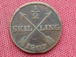 SUEDE Monnaie De 1/2 Skilling 1807 - Suède