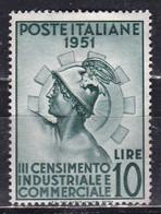 Repubblica Italiana, 1951 - 10 Lire Censimento, Fil. R1 - Pos. DB - Nr.166 MLH* - 6. 1946-.. Repubblica