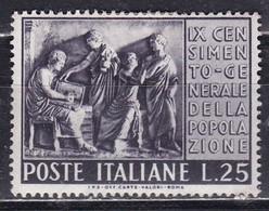 Repubblica Italiana, 1951 - 25 Lire Censimento, Fil. R1 - Pos. ND - Nr.167 MLH* - 6. 1946-.. Repubblica