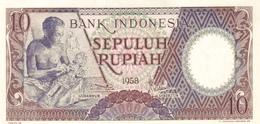 Indonesia P.56  10 Rupiah 1958  Unc - Indonésie
