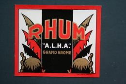 ETIQUETTE DE RHUM A.L.H.A IMPRIMERIE WOLF ROUEN - Rhum