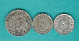 Straits Settlements - George V - 5 Cents - 1919 (KM31) 1920 (KM34) 1926 (KM36) - Colonies
