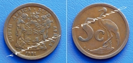 SOUTH AFRICA SUID AFRIKA 5 Cents 1991 BLUE CRANE - South Africa