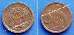 SOUTH AFRICA SUID AFRIKA 5 Cents 1992 BLUE CRANE - Afrique Du Sud