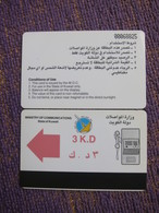 The First Issued Autelca Magnetic Phonecard,3 K.D Facevalue, Backside CN On Right, 2nd Print - Kuwait