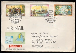 AITUTAKI - COOK ISLANDS - COLOMBUS / 11-12-1992 LETTRE FDC PAR AVION POUR L' ECOSSE (ref 7968) - Aitutaki