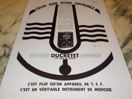 ANCIENNE PUBLICITE OFFRIRE TSF  DUCRETET 1932 - Music & Instruments