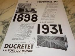 ANCIENNE PUBLICITE  TSF LA VOIX DU MONDE DUCRETET   1931 - Music & Instruments