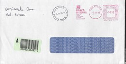 STORIA POSTALE REPUBBLICA - AFFRANCATURA MECCANICA ROSSA BANCA 05.11.1996 SU BUSTA ASSICURATA DA MANTOVA - Affrancature Meccaniche Rosse (EMA)