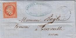 LETTRE.  1858. N° 16 ORANGE VIF. GAUTHIER LE POUZIN ARDECHE PC 2566  POUR LAVOULTE - Storia Postale