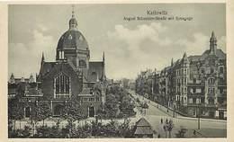 -ref-B272- Pologne -poland - Kattowitz -august Schneider Str Mit Synagoge- Synagogue - Synagogues - Judaisme -religions - Pologne