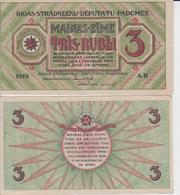 LATVIA 3 Rubli P R2 1919 AUNC- -- XF+ - Latvia