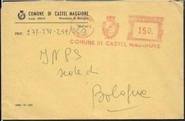 STORIA POSTALE REPUBBLICA - AFFRANCATURA MECCANICA ROSSA COMUNE CASTELMAGGIORE 19.08.1976 CON STEMMA - Affrancature Meccaniche Rosse (EMA)