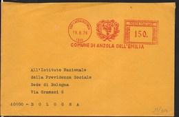 STORIA POSTALE REPUBBLICA - AFFRANCATURA MECCANICA ROSSA COMUNE ANZOLA EMILIA (BO)  19.08.1976 CON STEMMA - Affrancature Meccaniche Rosse (EMA)