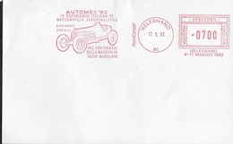 STORIA POSTALE REPUBBLICA - AFFRANCATURA MECCANICA ROSSA AUTOMEC '92 DA MELEGNANO - SPECIMEN - Affrancature Meccaniche Rosse (EMA)