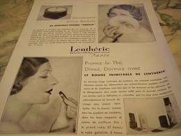 ANCIENNE PUBLICITE POUDRE ET ROUGE A LEVRE DE  LENTHERIC  1931 - Parfums & Beauté