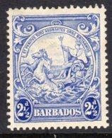 BARBADOS - 1938-1947 TWO PENCE HALFPENNY ULTRAMARINE DEFINITIVE 1938 COLONY SEAL PERF 13.5 X 13 REF B MINT MM * SG 251 - Barbados (...-1966)