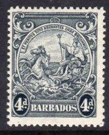 BARBADOS - 1938-1947 FOUR PENCE BLACK DEFINITIVE 1938 COLONY SEAL PERF 13.5 X 13 REF A MNH ** SG 253 - Barbados (...-1966)