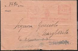STORIA POSTALE REGNO - AFFRANCATURA MECCANICA ROSSA MUNICIPIO SAVONA 04.07.1940 SU BUSTA - Affrancature Meccaniche Rosse (EMA)