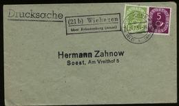 S6725 - BRD Posthorn MiF Auf Briefumschlag Mit Landpoststempel:gebraucht Wiehagen über Fröndenberg Ruhr - Soest 1954 , - BRD