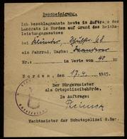 WW II DR Blatt Bescheinigung Polizei Beschlagnahme ,ein Fahrrad , Endzeitbeleg: Norden Ostfriesland 17.4.1945. Bedarfs - Briefe U. Dokumente