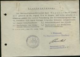 WW II Arier Nachweis , Bescheinigung: Gebraucht Marine Borkum 1936, Bedarfserhaltung , Gefaltet. - Deutschland
